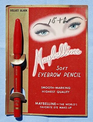 VINTAGE 1940's MAYBELLINE BLACK SOFT EYEBROW PENCIL ON ORIGINAL CARD MAKEUP NOS