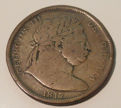 Copper Half Crown - George III 1817 (Contemporary Forgery) See Photo
