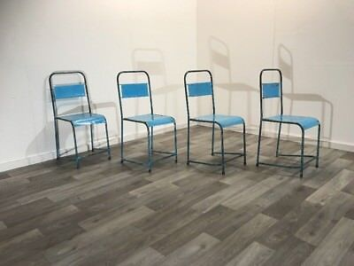 Vintage Industrial Mid-Century Indonesian Stacking School Chairs / Bar / Cafe