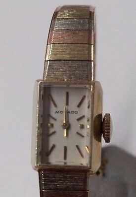 Vintage Ladies Tri-Color 14K Yellow White, Rose Gold Movado Watch Mechanical 17J