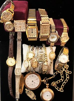 Lot Of Estate Pocket Watches Wrist Watches For Repair Or Parts Including 14K