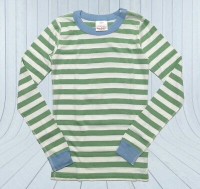NEW ✅ HANNA ANDERSSON STRIPED PAJAMA TOP SHIRT BOY GIRL 150 12 Green White Blue
