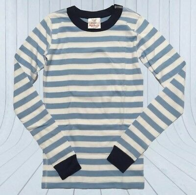 New ✅ Hanna Andersson Striped Shirt Top Pajamas Boy Girl 150 12 Blues & White