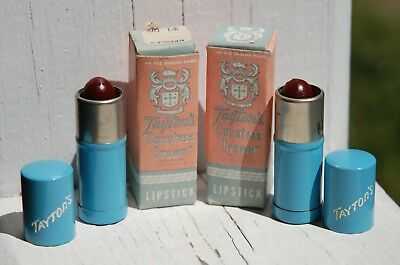 VINTAGE 1940's TWO TAYTON'S COUNTESS CROWN JUNGLE RASPBERRY LIPSTICKS IN BOX NOS