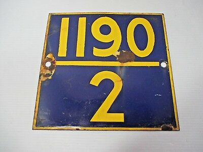 """Heavy Porcelain on Cast Iron Railroad Highway Mile Marker Sign Blue & Yellow 10"""""""