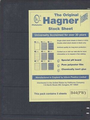 Stamp Stock Sheets Pages Double Sided 4 Row 5 Pack Black Hagner High Quality New