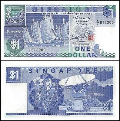SINGAPORE 1 Dollar, 1987, P-18, UNC World Currency