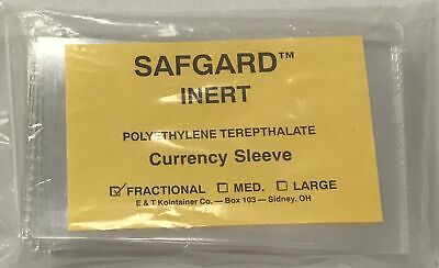 Safgard Currency Sleeves For Fractional Small US / World MPC Banknotes Mylar X50