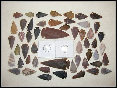Indian-Buffalo & Liberty Nickel W/ 50+ Arrowheads/Spearheads flint Stone 30