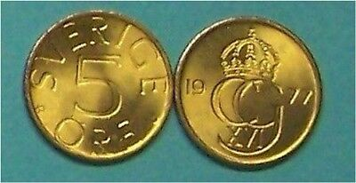Sweden  1977  5 Ore  Km849  Uncirculated Coin From Roll