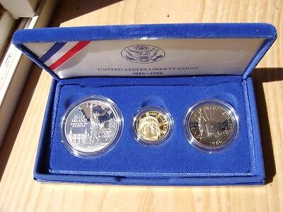1986 US Mint Liberty Comm. 3 Coin Silver 50c & 5 $ Gold Proof Set as Issued DGH!