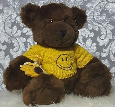 """Pro Flowers Brown Teddy Bear Plush Yellow Smile Removable Sweater Daisy 11"""""""