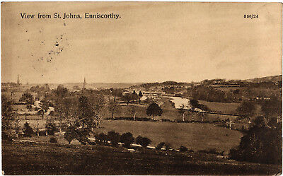 Enniscorthy, View from St. John's, old postcard, posted
