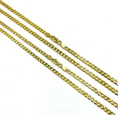 14k Gold over 925 Sterling Silver Cuban chain Necklace curb Italy 3mm-4mm d1