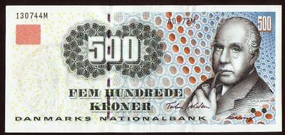 1997 Denmark 500 Kroner XF Very Rare Vintage Money Currency Old Banknote Scarce