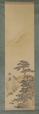 JAPANESE HANGING SCROLL ART Painting Scenery Asian antique  #E1707