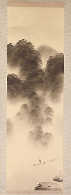 """JAPANESE HANGING SCROLL ART Painting Scenery """"Boatman"""" Asian antique  #E1698"""