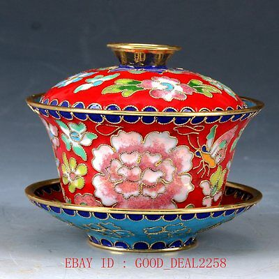 Chinese Cloisonne Hand Carved Flower Cup&Dish JTL048