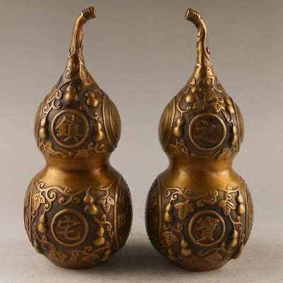 A pair Antique China old handmade bronze Gossip gourd Lucky Statues Decoration