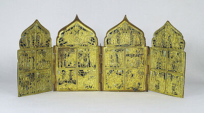Antique Russian Four Panel Traveling Icon Gilt Brass Enamel 19th  century