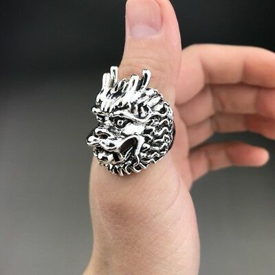 China Tibet silver ring pure hand-carved dragon head image.