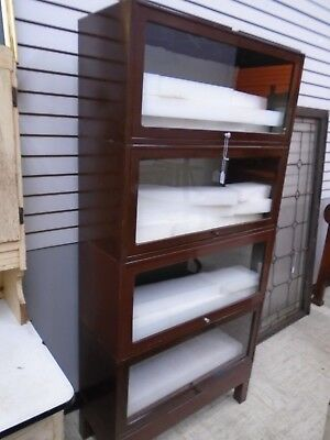 antique metal 4 section bookcase barrister