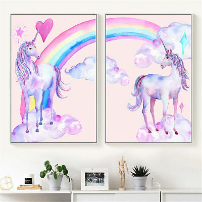 Pink Unicorn Rainbow Canvas Poster Kid Children Room Wall Decoration Art Print