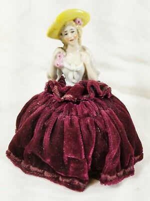 Antique Porcelain Half Doll Pincushion Half Doll Pin Cushion Figure Figurine Vtg