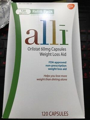 alli Weight Loss Aid Orlistat 60 mg,Refill Pack 120caps/box EXP12/2020