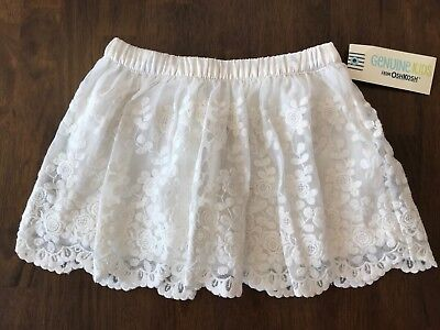 NWT Genuine Kids from Oshkosh Toddler Girls Lace Skirt Almond Cream Lined Sz 2T
