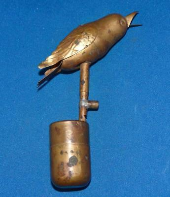 RARE Antique BRASS MECHANICAL AUTOMATION WHISTLING CANARY BIRD WHISTLE