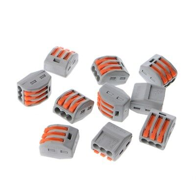 10PCS Reusable Spring Lever Terminal Block Electric Cable Wire Connector 3 Way