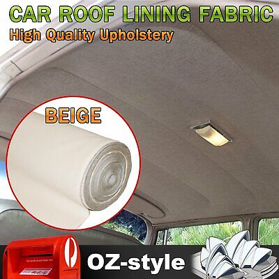 151 x 180cm Beige Foam Upholstery Fabric Replace For Car Roof Lining Headliner