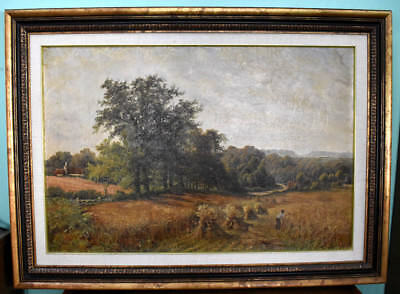 Large 19th Century English Landscape, Cornfield at Dorking, Oil Painting