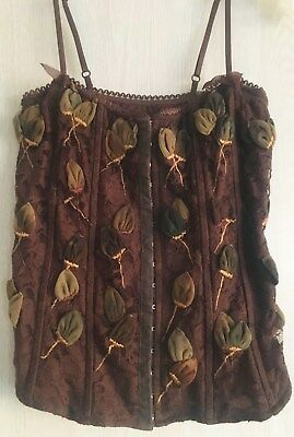 BEBE Brown Embellished Rose Rosette Leaf Flower Lace Sheer Corset Bustier Top M