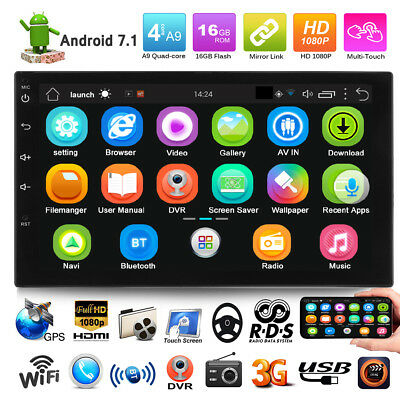 "7"" Android 7.1 Car Radio Stereo MP5 Quad Core 3G WIFI Double 2DIN Player GPS FM"