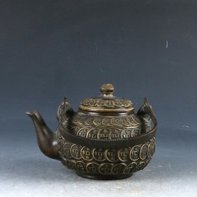 Chinese Copper Handwork Carved Coin Teapot W Qing Dynasty Mark CC0286