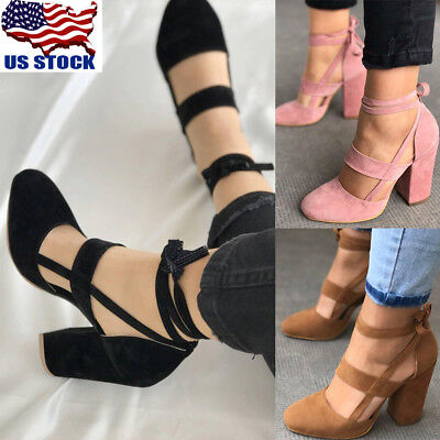 Lady Ankle Strap Lace Up Block Chunky High Heels Closed Toe Sandals Shoes Pumps