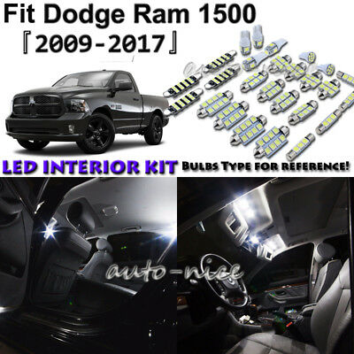 11x White LED Interior Lights Package Kit For 2009 - 2017 2018 Dodge Ram 1500