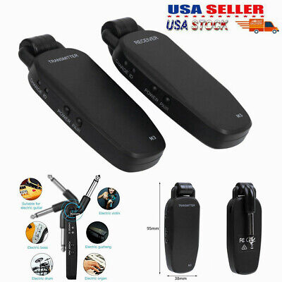 UHF Wireless Audio Transmitter Receiver System for Electric Guitar Bass US Ship