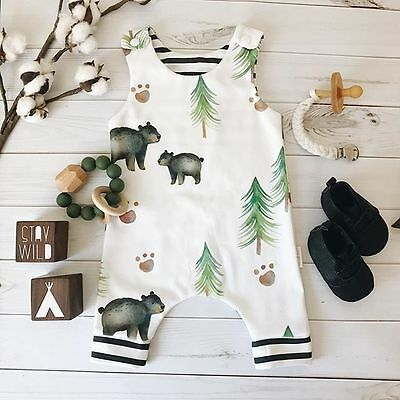 Newborn Baby Boys Girls Outfit Animal Print Clothes Sleeveless Jumpsuit Bodysuit