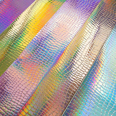 Hologram Iridescent Pebble Grain Leather Craft Fabric Vinyl Bag Material Sheet