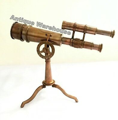Handmade Antique Full Brass Double Barrel Telescope With Brass Stand Decorative