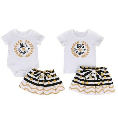 AU Baby Matching Tops Little/Big Sister Romper T-shirt + Pants Baby Girl Clothes