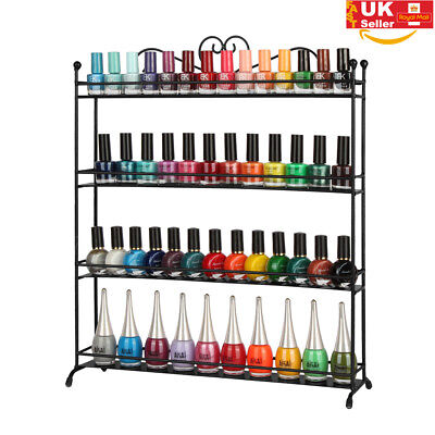 Black 4 Tier Nail Polish Rack Shelf Display Cosmetic Stand Varnish Organizer Box