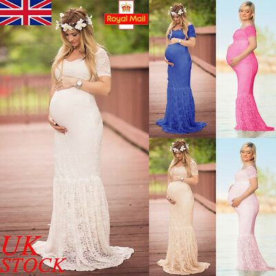 UK Pregnant Women Bodycon Maxi Long Dress Maternity Gown Shoot Photography Props