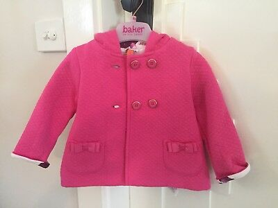 Ted Baker Baby Girl Hooded Coat, 6-9 Months, Hot Pink, Floral, Like New