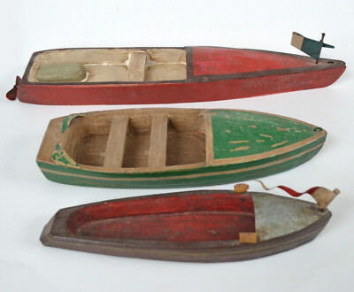 3 Handcrafted Vintage Painted Wooden Boat Toy Replicas. Green, Red, Brown. Rare
