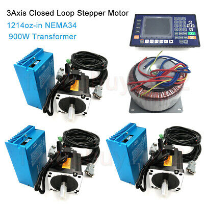 3Axis 8.5NM Closed Loop Stepper Motor Nema34 Drive&AC900W Transformer&Controller