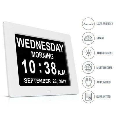 "8"" White LED Dementia Digital Calendar Clock Large Letter Week/Month/Year UK"